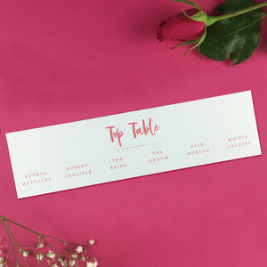 On the Day Essentials - Fuchsia Pink Table Plan 'Top Table' Card