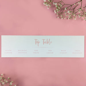 On the Day Essentials - Light Pink Table Plan 'Top Table' Card