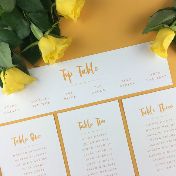 On the Day Essentials - Sunflower Yellow Table Plan 'Top Table' Card