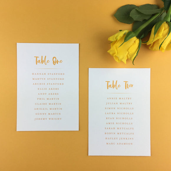 On The Day Essentials - Sunflower Yellow Table Plan Card