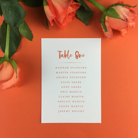 On The Day Essentials - Burnt Orange Table Plan Card