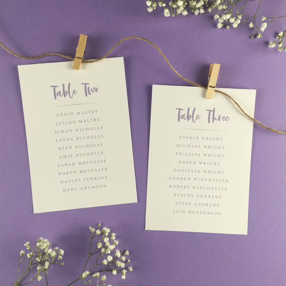 On The Day Essentials - Lilac Table Plan Card