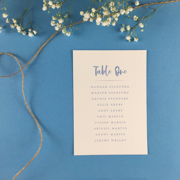 On The Day Essentials - Light Blue Table Plan Card