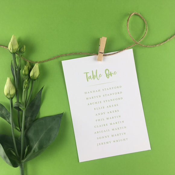 On The Day Essentials - Fresh Green Table Plan Card