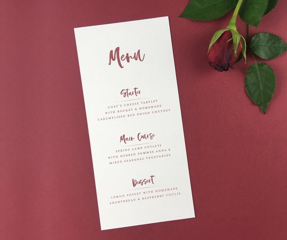 On The Day Essentials - Wine Red Menu Card