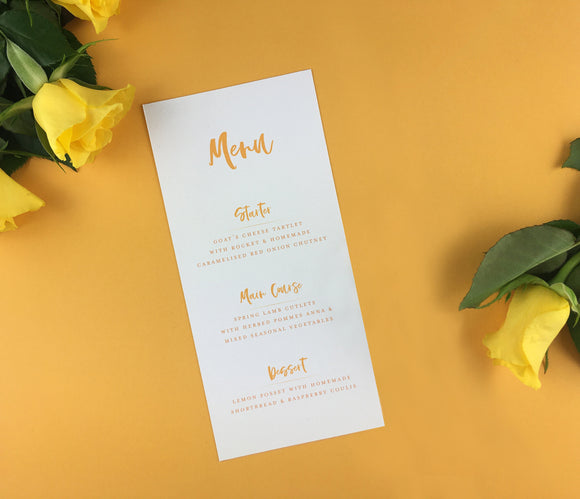 On The Day Essentials - Sunflower Yellow Menu Card