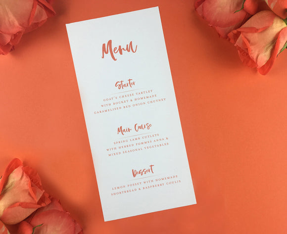 On The Day Essentials - Burnt Orange Menu Card