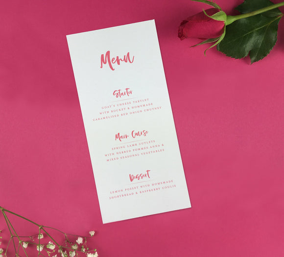 On The Day Essentials - Fuchsia Pink Menu Card