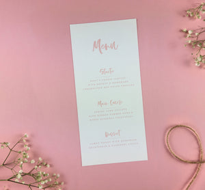 On The Day Essentials - Light Pink Menu Card