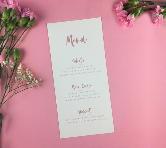 On the Day Essentials - Dark Pink Menu Card