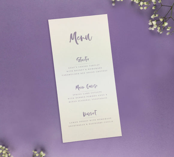 On The Day Essentials - Lilac Menu Card