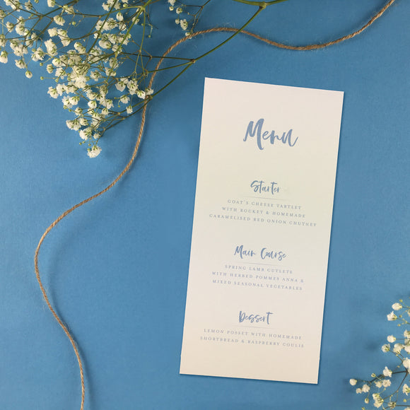 On The Day Essentials - Light Blue Menu Card