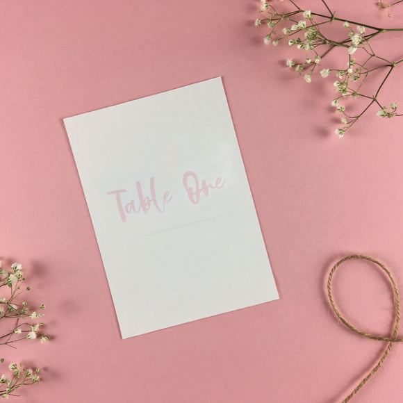 On The Day Essentials - Light Pink Table Number Card