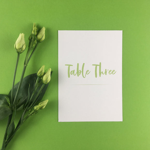 On The Day Essentials - Fresh Green Table Number Card