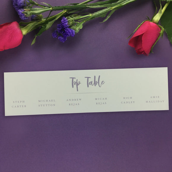 On the Day Essentials - Lilac Table Plan 'Top Table' Card