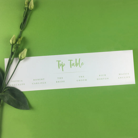 On the Day Essentials - Fresh Green Table Plan 'Top Table' Card
