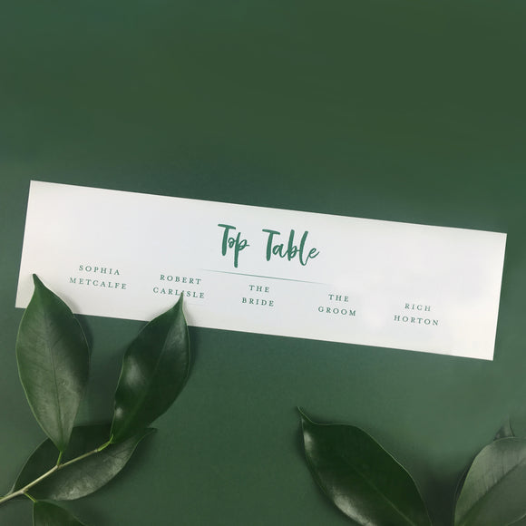 On the Day Essentials - Forest Green Table Plan 'Top Table' Card
