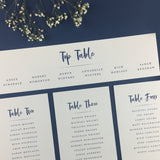 On the Day Essentials - Indigo Blue Table Plan 'Top Table' Card