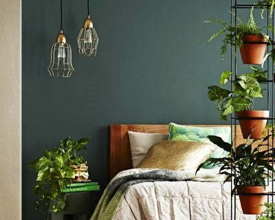 bed-sheets-on-bed-with-plant-and-green-feature-wall