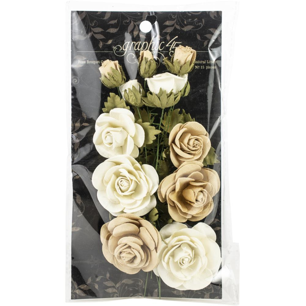Graphic 45 Flower Pack - Rose Bouquet Classic Ivory & Natural Linen