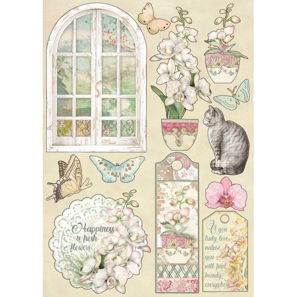 Stamperia Wooden Shapes A5 - Orchids and Cats: Window, orchids and Cat