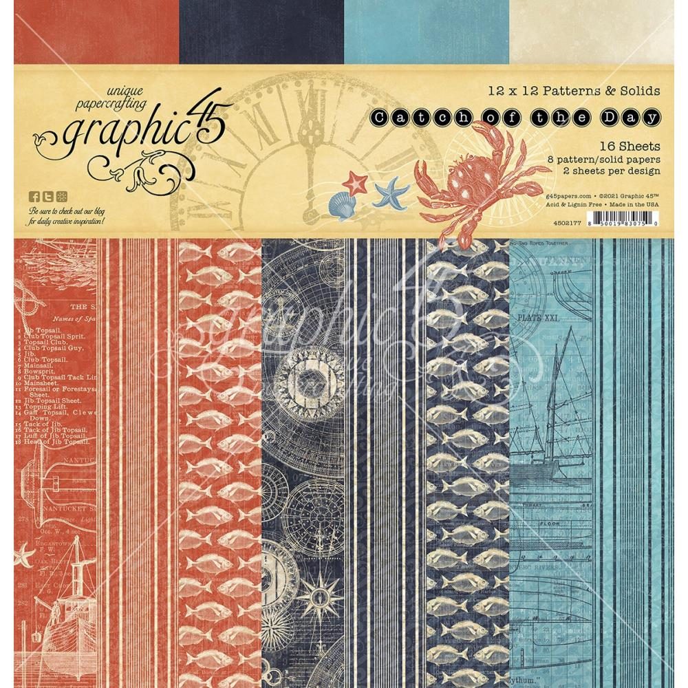 Graphic 45 Paper Pack Patterns & Solids 12 x 12 - Catch of the Day