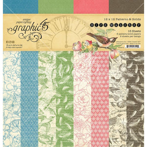 Graphic 45 Paper Pack Patterns & Solids 12 x 12 -  Bird Watcher