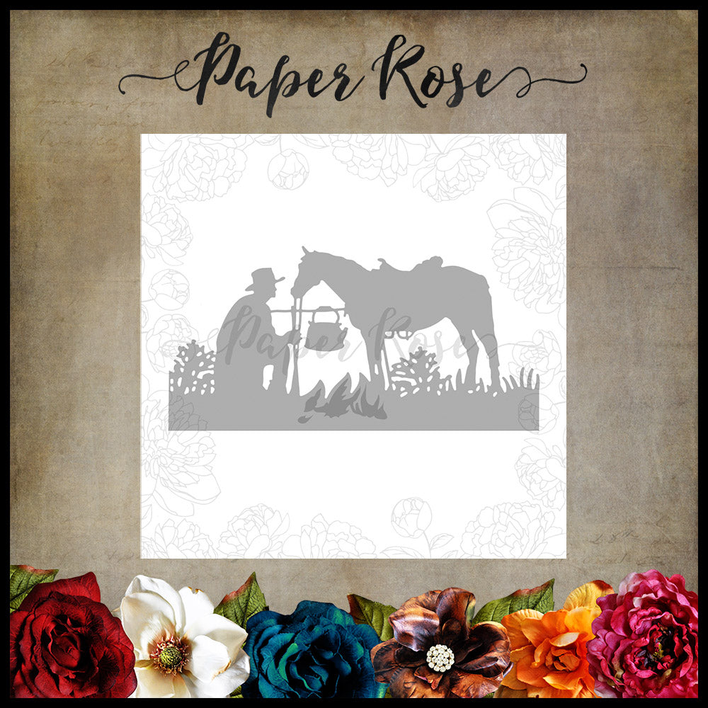 Paper Rose Die - Stockman with Horse