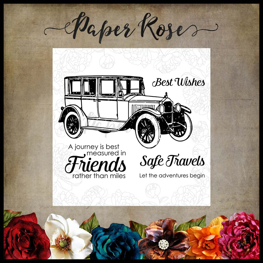 Paper Rose Stamp set - Vintage Car