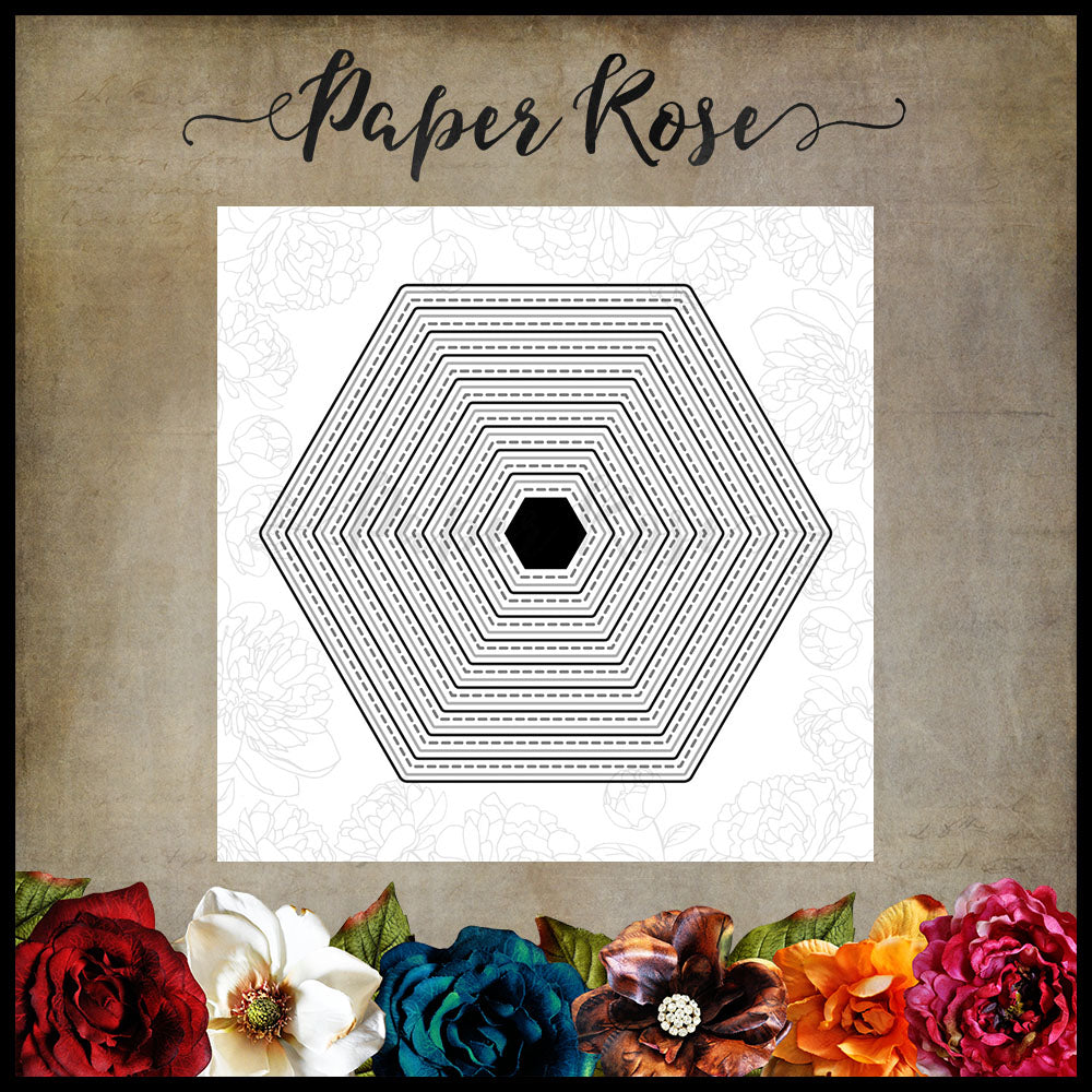 Paper Rose Die set - Stitched Hexagons