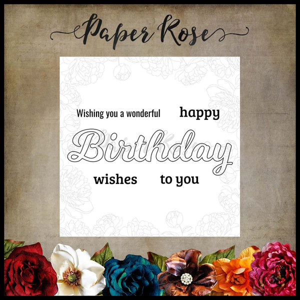 Paper Rose Stamp set - Wonderful Birthday