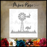 Paper Rose Die - Windmill Scene with Emu
