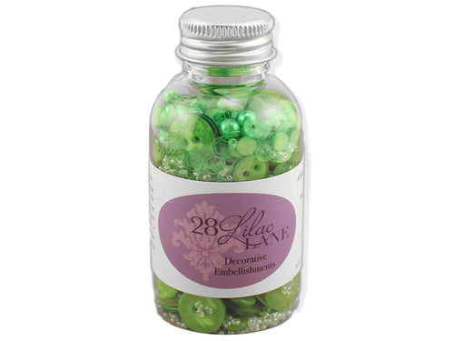 BG Buttons & Beads & Pearls - Green
