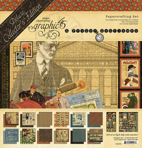 "Graphic 45 Paper Pack Deluxe Collector's Edition 12"" x 12""  - A Proper Gentleman"