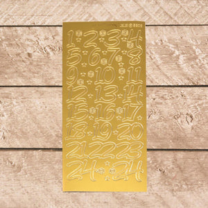 Sticker Sheet - Numbers Large 1 - 24 Gold