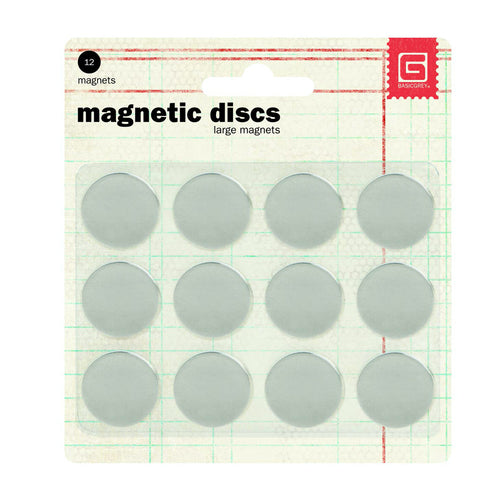 "Basic Grey Magnetic Discs 5/8"" Pack of 12"