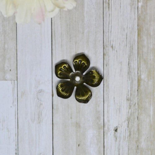Antique Bronze Metal Buttercups 2.5cm