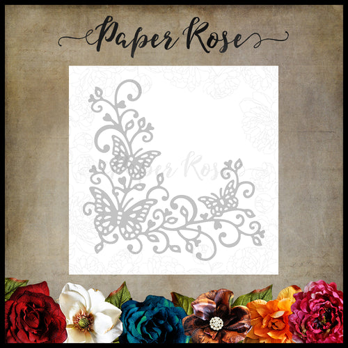 Paper Rose Butterfly Corner