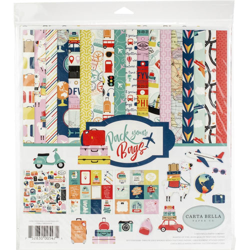 "Carta Bella Paper Pack 12"" x 12"" - Pack Your Bags"