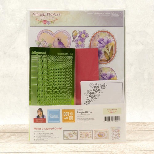 Couture Creations Hobbydots 3D Push Out Kit - Purple Birds