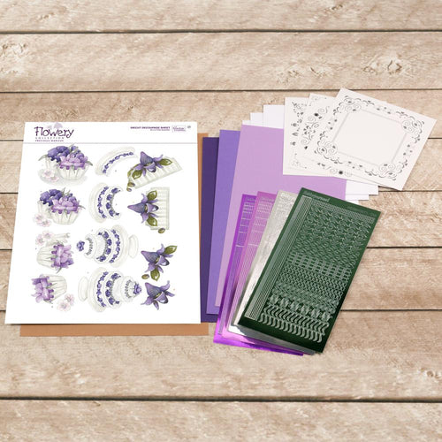 Flowery Collection Decoupage Pack - Purple Cake