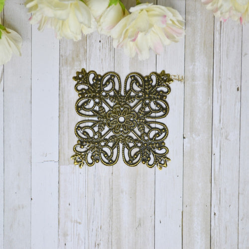 Antique Bronze Metal Filigree Square Large