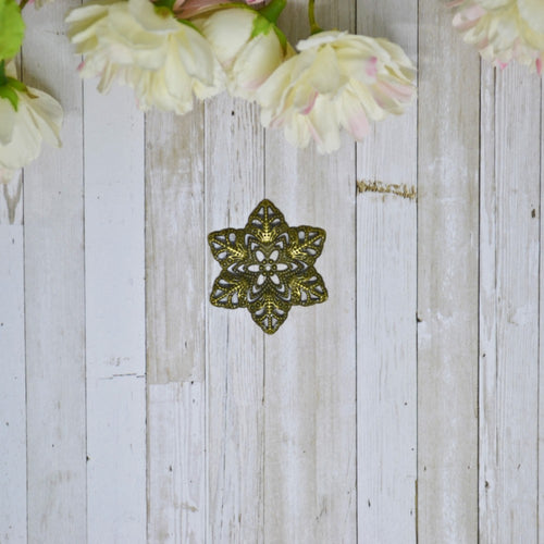 Antique Bronze Metal Filigree Star Flower Small