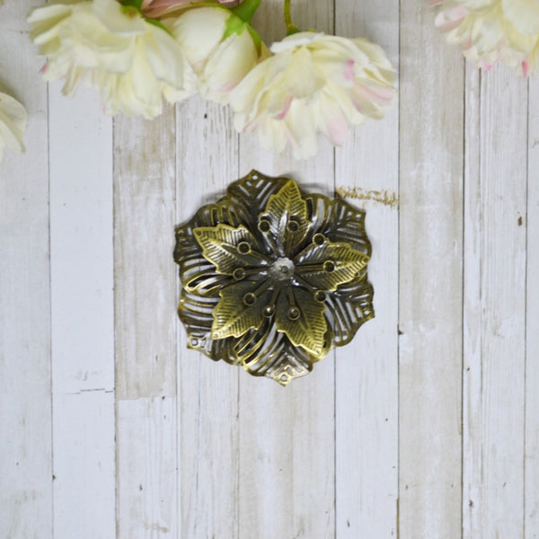 Antique Bronze 3D Metal Poinsettia Flower