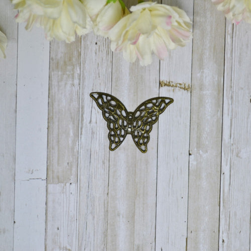 Antique Bronze Metal Filigree Butterfly