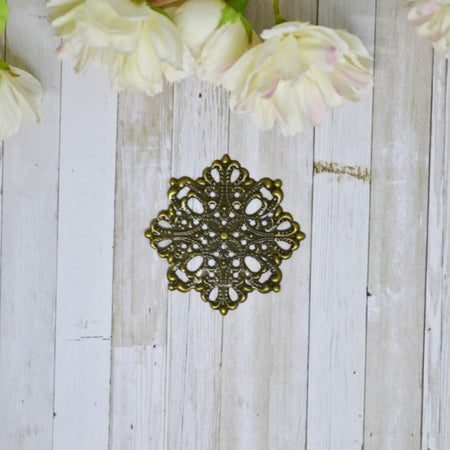 Antique Bronze Metal Filigree Label 1