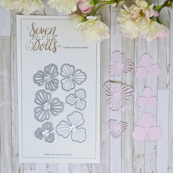 Seven Paper Dolls Floral Outlines 3
