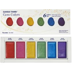 Kuretake Gansai Tambi 6 Color Set - Gem Colors