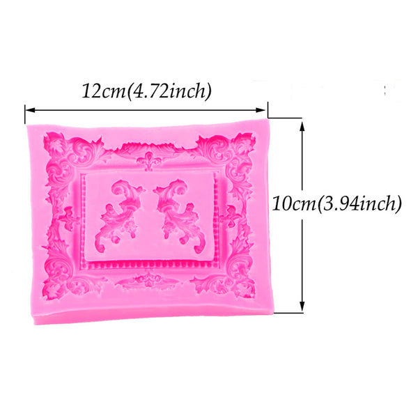 Silicone Mold - Large Rectangle Frame & Flourish
