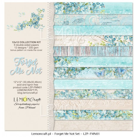 LemonCraft 12x12 Paper Pack - Forget Me Not